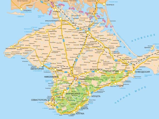Карта Крыма - география полуострова