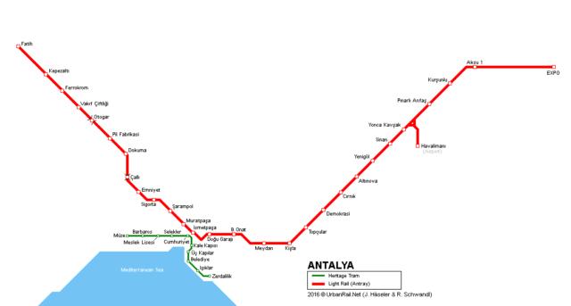 Карта травмайных веток в Анталии, фото