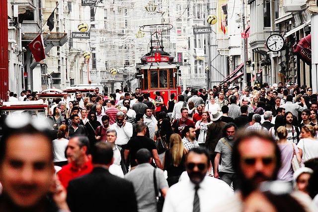 Стамбул, трамвай, улица Истикляль, фото
